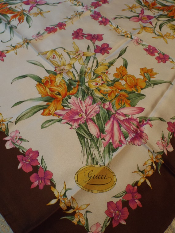 Authentic GUCCI Floral Scarf, Gucci Made in Italy… - image 7