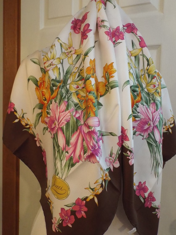 Authentic GUCCI Floral Scarf, Gucci Made in Italy… - image 3