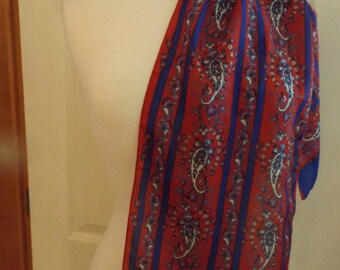 Vintage Sarah Coventry Long Paisley Scarf, Red/Blue/Pink, Soft Scarf, Women's Accessory, Head/Neck Scarf, Made in Italy, Retro Fashion, Mod