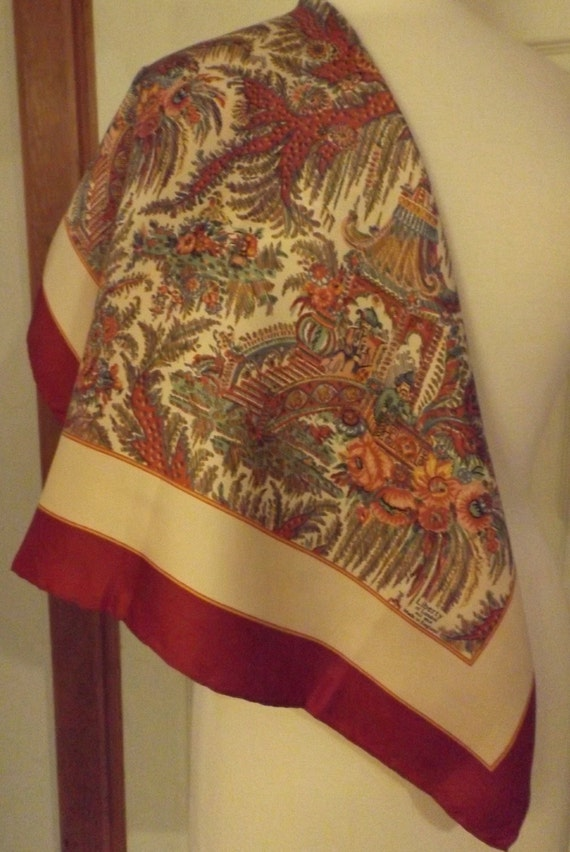 Liberty of London Pagoda Motif Silk Designer Scarf