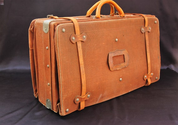 Antique 1920s Large Real Leather Gladstone Travel Case Belonged to 1st Viscount of Ullswater