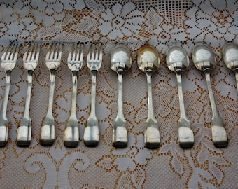SALE !!! Set of  Antique Silver plated forks & spoons