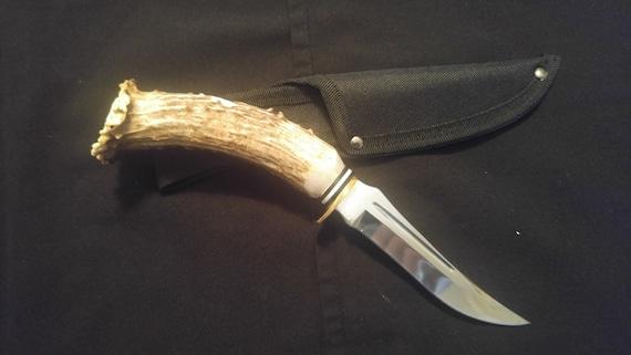 No 5 Deer Antler Handle Upswept Skinning Knife Etsy