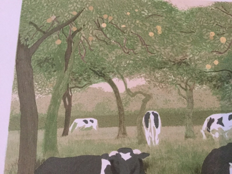 Rare Carolyn Trant lithograph print  cows in orchard 1983 limited edition of 200 Royal Academy