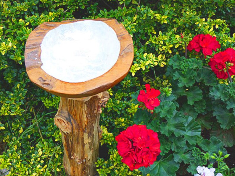 Pearl Shell inlay Garden Zen Garden Gift Water Fountain Teak Wood Bird Bath with stand