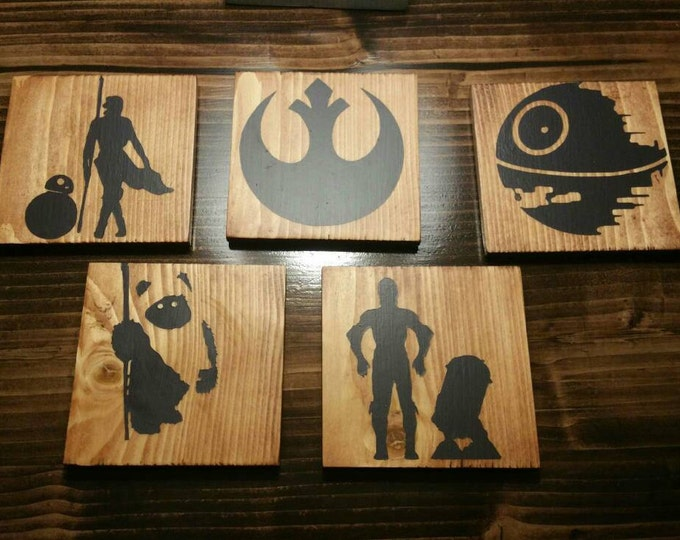 Star Wars and video game inspired wooden coasters