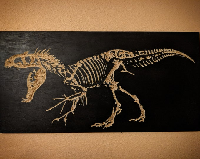 Indominus Rex skeleton wall hanging, Dinosaur wall art, Wood engraving