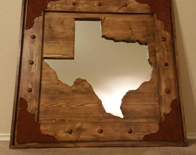 Wooden Texas mirror