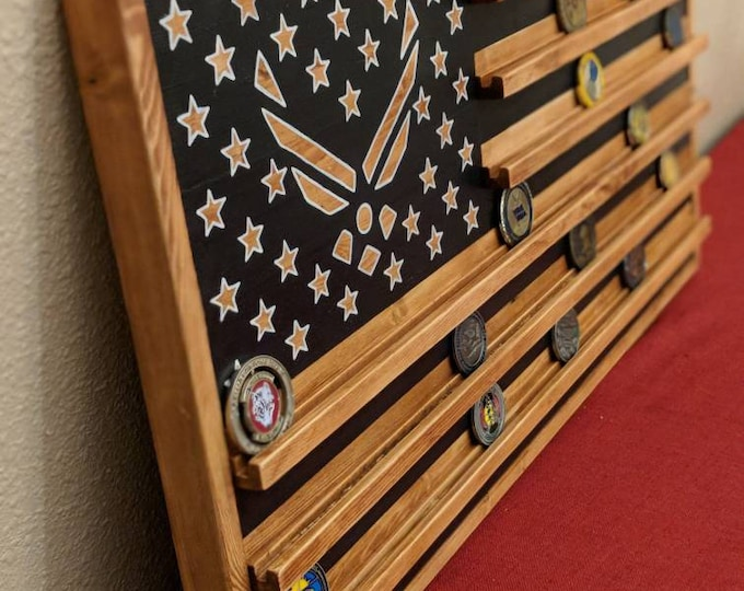 "Free Shipping--16"" x 30"" Military flag coin rack, Air Force Flag coin rack, Army flag, Navy flag, Marines flag, flag coin holder"
