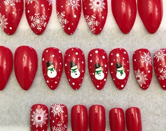 snowman fake nails faux nails glue on nails red nails snowman white dots round tip stiletto nails gloss nails