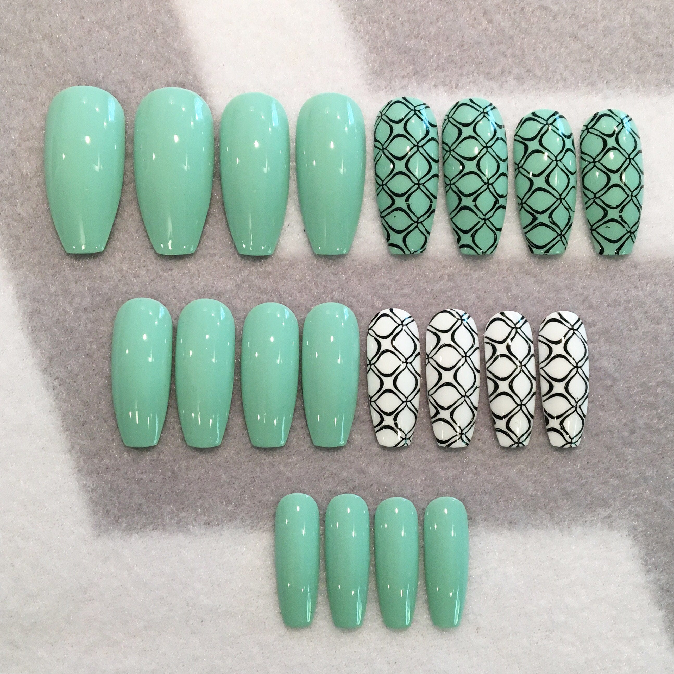 Seafoam Green And Black Fake Nails * Faux Nails * Glue On Nails ...