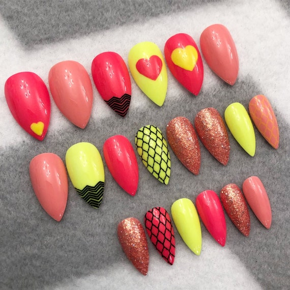 Why Does Neon Nail Polish Chip: Neon Valentine Fake Nails Faux Nails Glue On Nails Neon