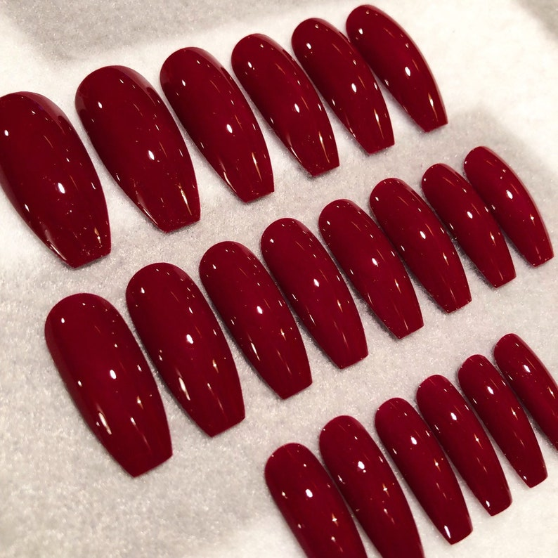 Crimson Red Faux Nails * Fake Nails * Glue On Nails * Dark Red Nails *  Burgundy Nails * Red * Long Coffin Nails * Gloss Nails * Matte Nails