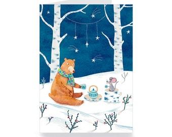 carte de voeux ours et souris prennent le thé