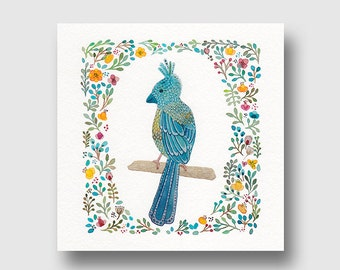 Greeting card, card art, bird and flowers, art watercolor reproduction, giclee