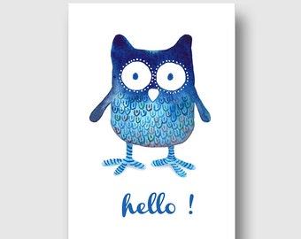 {postcard OWL hello, my watercolor print