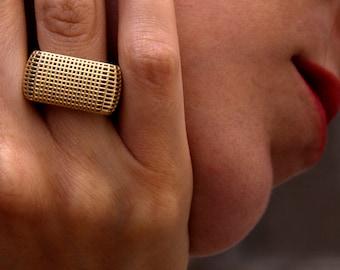Large Band, Square Ring Band, 14k Gold Band, Geometric Ring, Large Gold Ring, 14k Gold Ring for Women,Textured Gold Ring