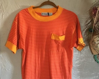 7d31b5353674ff Size L: 1990s Bright Orange Striped Funky T-Shirt, Sporty Striped Tee,  Bright colored vintage shirt, vintage striped t-shirt, 90s tomboy tee