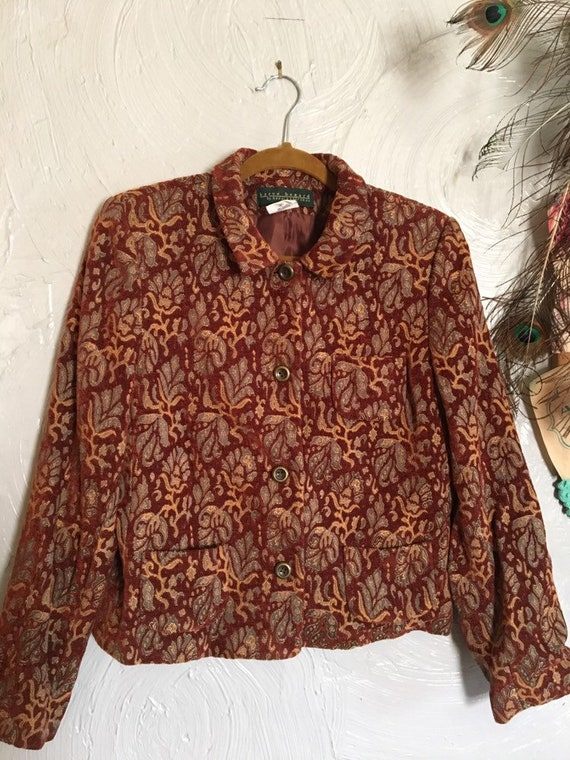 Sz M/L: 90s tapestry jacket, rust red colored tape