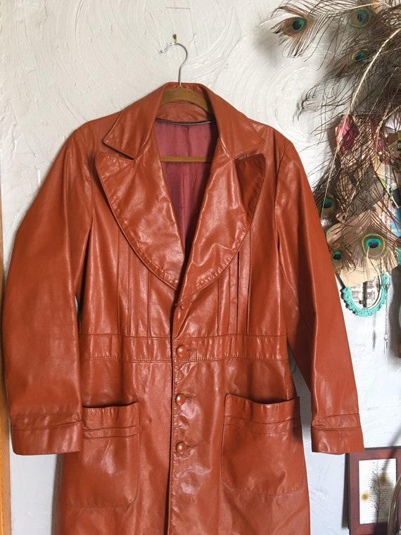 Sz M/L: 1970s Burnt Orange Leather Large Lapel Lon