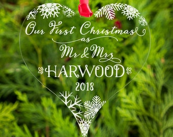 Our First Christmas as Mr and Mrs Personalised Bauble 1st Xmas as Mr and Mrs Mr and Mr, Mrs and Mrs Tree Decorations Newlywed Presents Gifts