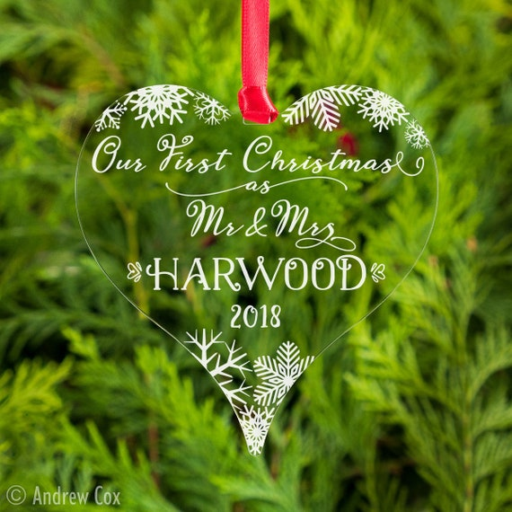 Bauble First Christmas 1st Xmas as Mr /& Mrs  Decoration Gift Personalised