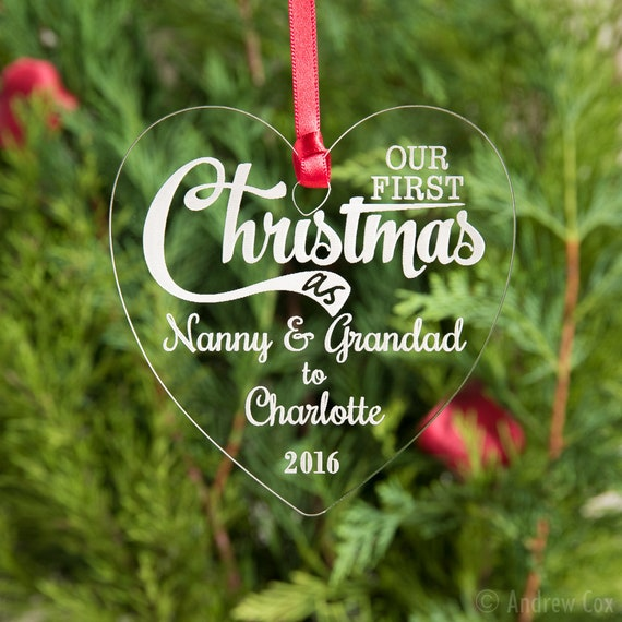 Your First Christmas As Aunty /& Uncle Tree Decoration 1st Xmas Baby Bauble
