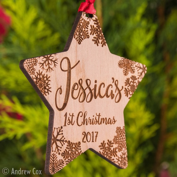 Wood Personalised 1st Baby First Christmas Tree Decoration Bauble Gifts