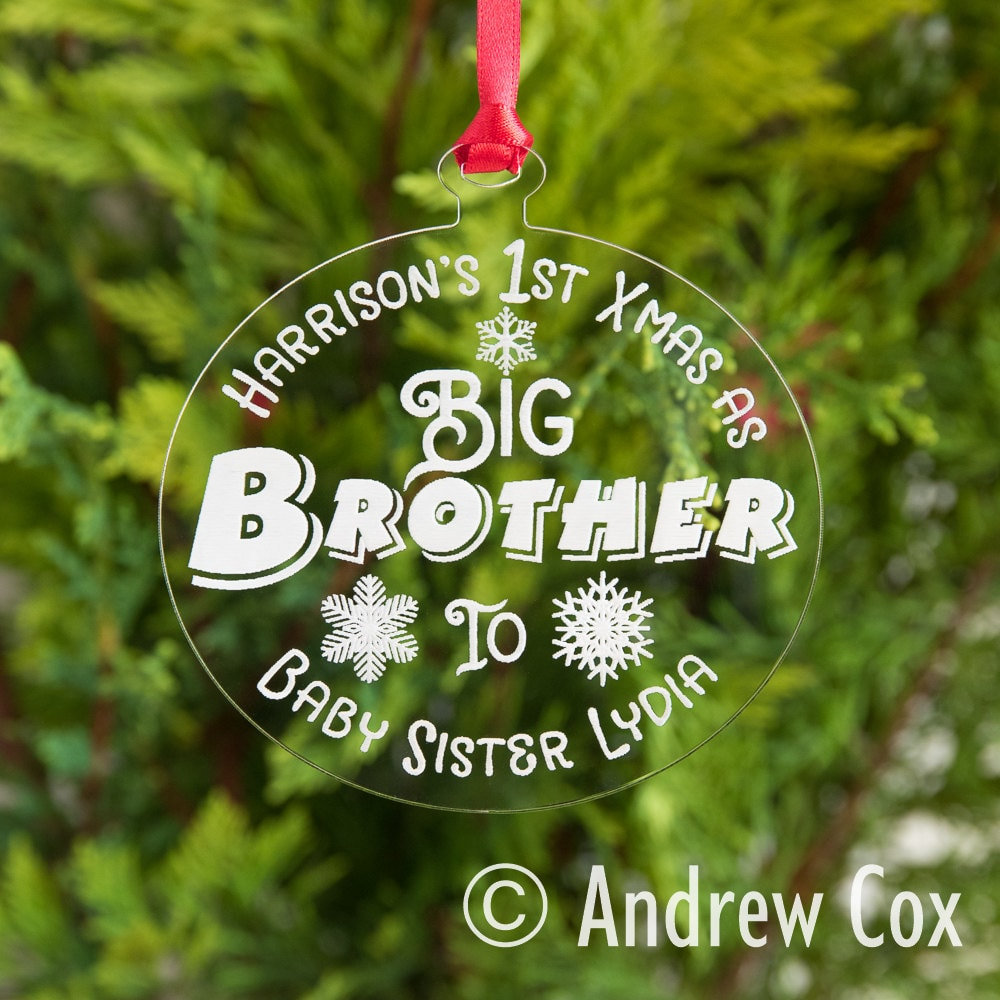 Personalised First Christmas As My BROTHER Glass Bauble 1st Xmas Keepsake Gift