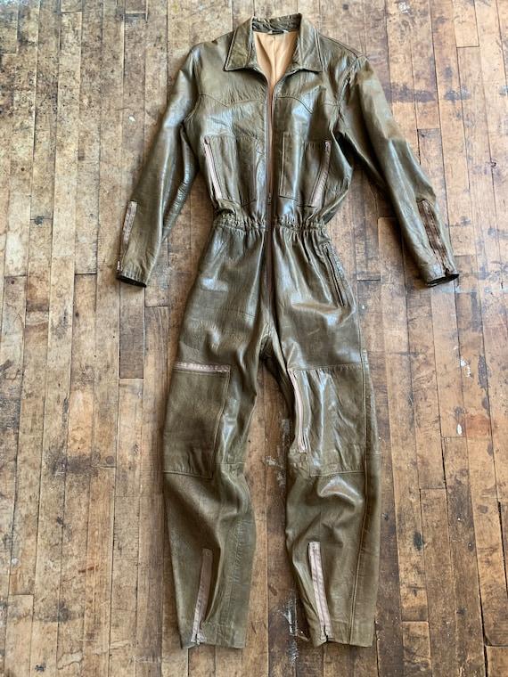 1980s Olive Leather Jumpsuit Medium