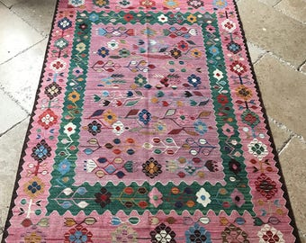 Tapis rose, tapis turc rose, rose Oushak tapis, tapis de couleur rose, tapis rose Vintage, zone rose tapis, tapis Vintage Rose, tapis de sol, 5, 10 x 3, 11 pi