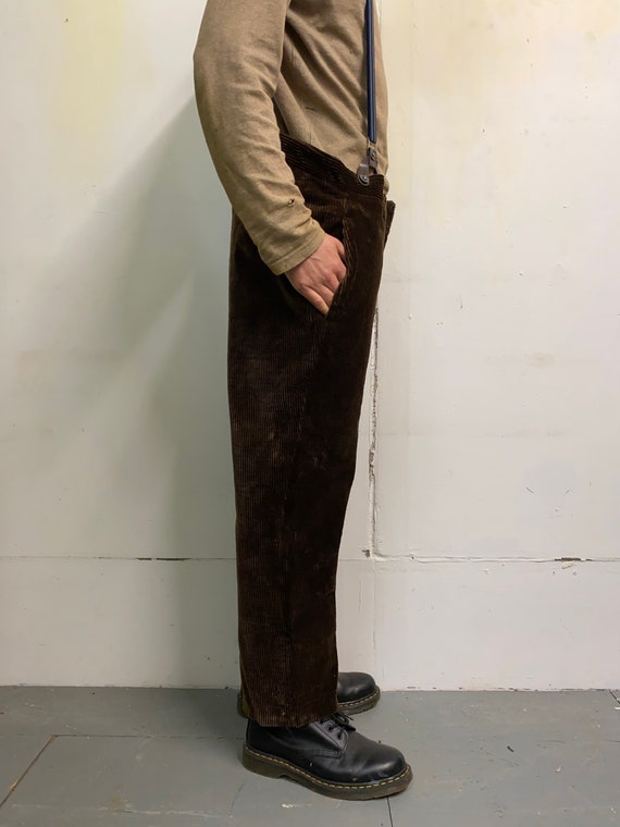 Vintage 1930s French Workwear Brown Corduroy Cords