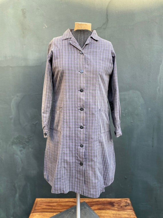 1950s Vintage French Patched and Repaired Plaid Ch