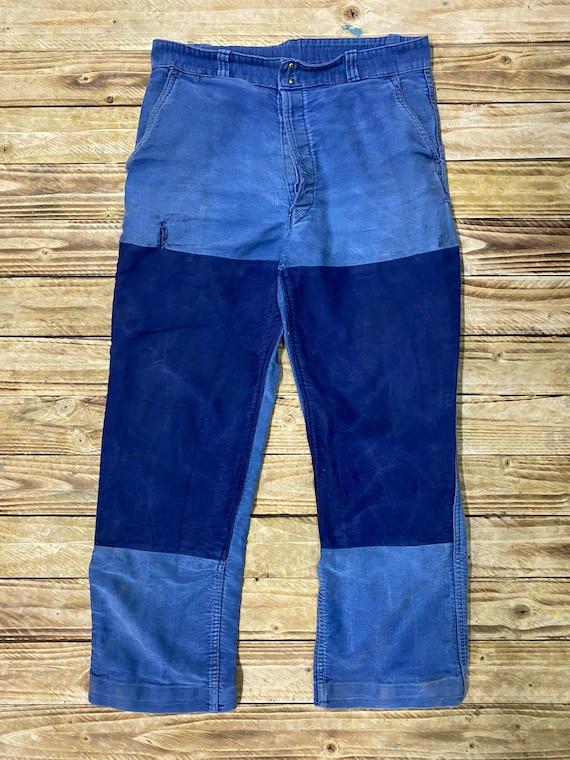 Vintage French Mokeskin Trouser LK47 Bleu de Travail Pants Size W32