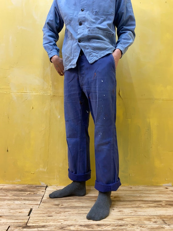 Vintage French Workwear Painters Chore Trousers