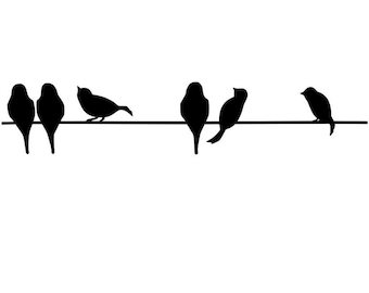 Large vinyl Birds on a wire decal/sticker wall decor