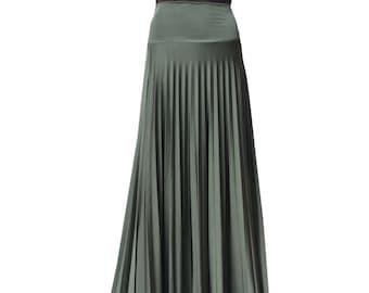 cf1cb99f1c Moss Green Pearlscent Flare Jersey Pleated Maxi Skirt | Modest Long Skirt |  Islamic Clothing XS S M L XL 2X 3X