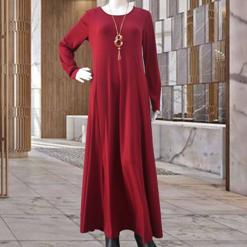 aae59f3c50 Maroon Jersey Maxi Dress with Full Sleeves Modest Long Dress | Etsy