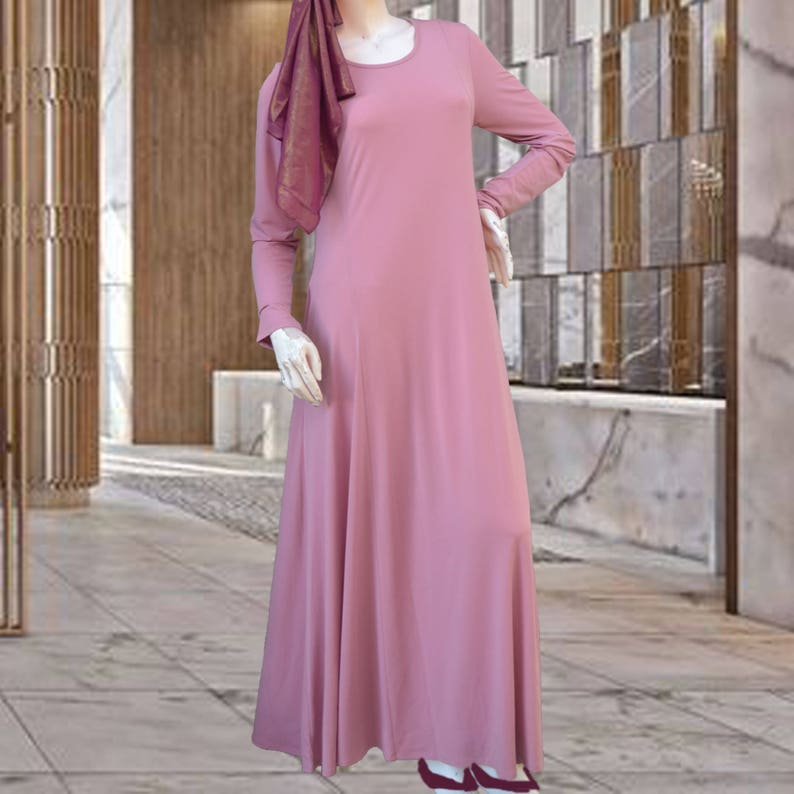 00fa293213 Rose Pink Jersey Maxi Dress with Full Sleeves Modest Long | Etsy