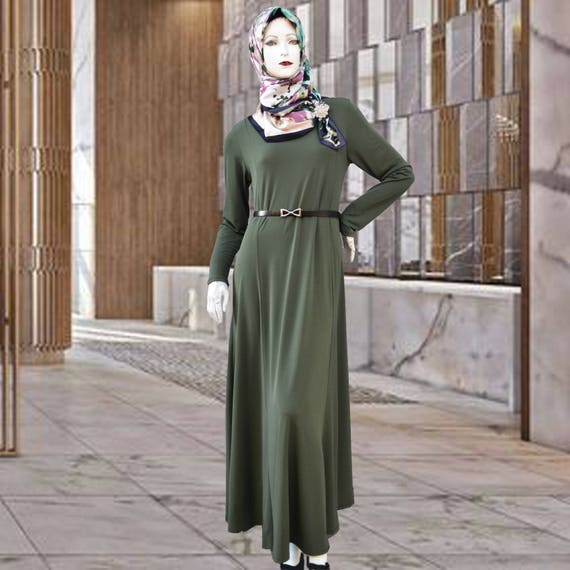 8c00c43e20aae7 OLIVE Jersey Maxi Dress with Full Sleeves Modest Long Dress