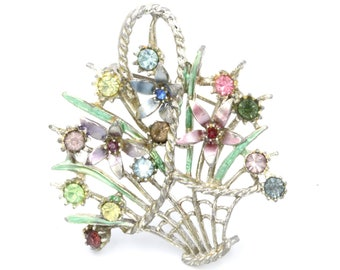 Antique Garnet and Marcasite Giardinetti Flower Floral Basket Sterling Silver Brooch Pin Bristol Blue Glass Vase