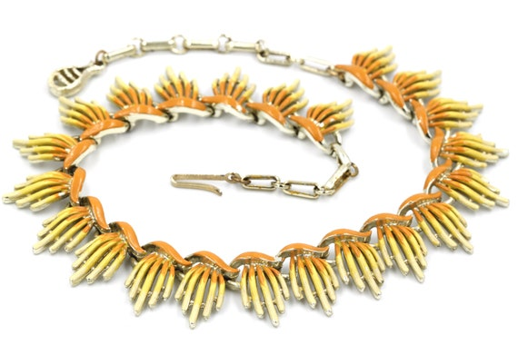CORO 1950/'s  White Lucite Choker Necklace adjustable choker to collar mid century abstract link necklace.