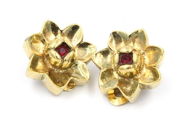 Vintage 1980/'s Gold White Red Teardrop Geometric Argyle Pattern Retro Medium Retro Statement Clip On Earrings
