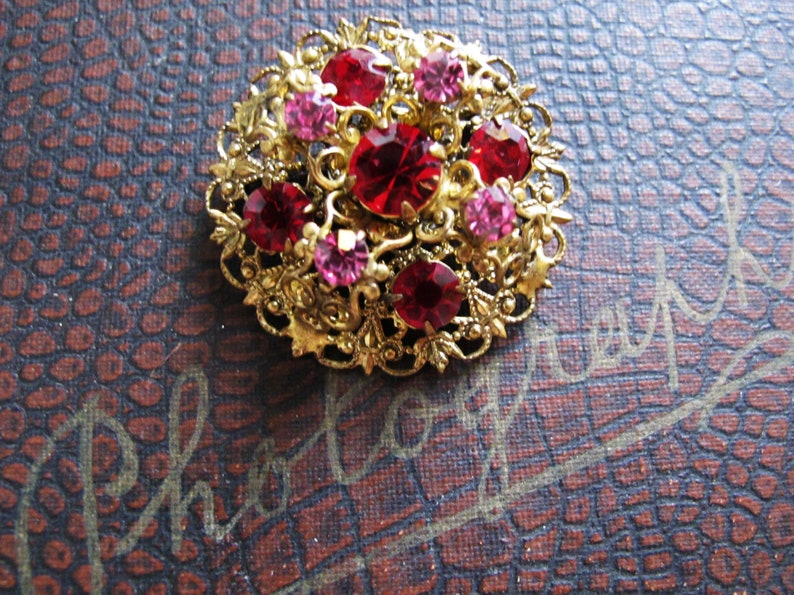 a48a976d7 1920s art deco czech filigree pin brooch 1920s bohemian pink   Etsy