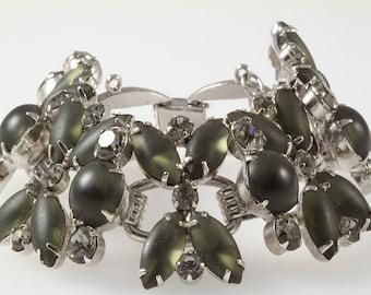D&E Juliana vintage bracelet, juliana statement wide rhinestone vintage bracelet MINT condition, smokey rhinestone juliana bracelet
