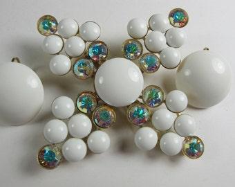 Vintage Milkglass jewelry set, RICHELIEU signed 1960s milk glass pin earrings, Huge brooch pin earrings vintage set, Vintage wedding belt