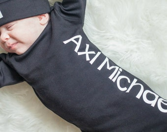 Personalized black newborn gown or bodysuit - white writing - take home outfit - Newborn boy hospital gown -Baby Boy Gift -Hat Sold Seperate