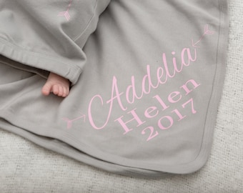 Personalized Girls Newborn Blanket Personalized Knit Baby Blanket, Customized Name Blanket, Swaddle Blanket, Baby Girls Blanket, Photo Prop
