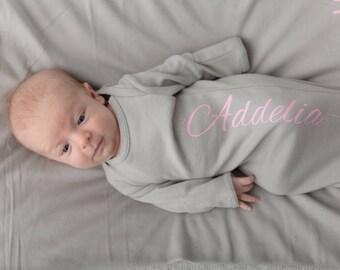 Personalized Newborn Girls Gown, Custom Baby Gown, Baby Girls Take Home Outfit, Personalized Baby Girl Bodysuit, Baby Shower Gift, New Baby