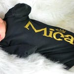 Baby Boy Personalized Black and Gold Gown, Newborn Boy Black and Gold Bodysuit, Baby Boy Gown, Personalized Baby Shower Gift, Name Shirt